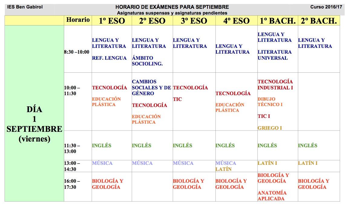 Calendario exámenes septiembre 2017 » IES BEN GABIROL